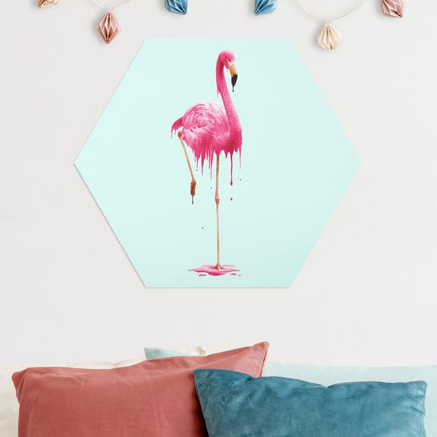 Hexagon Bild Alu-Dibond - Jonas Loose - Schmelzender Flamingo