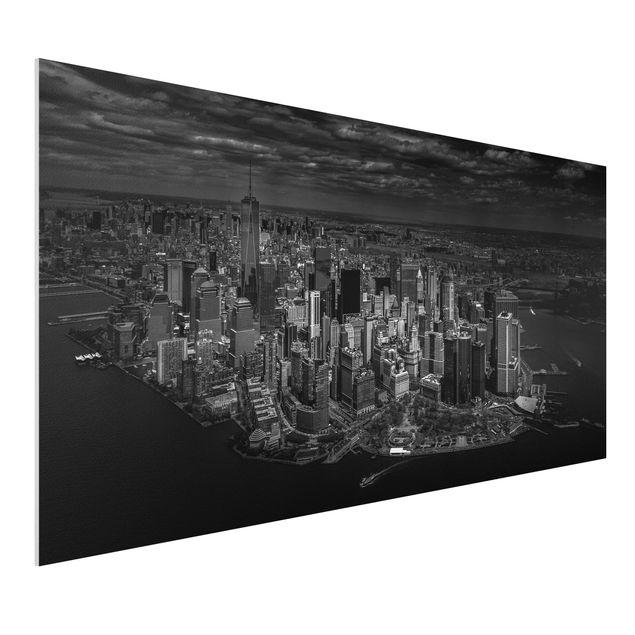Forex Fine Art Print - New York - Manhattan aus der Luft - Querformat 1:2