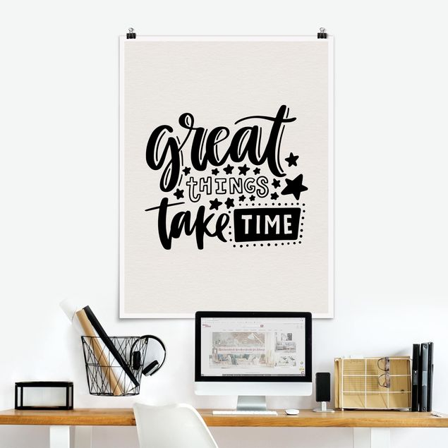 Poster - Great things take time - Hochformat 3:4