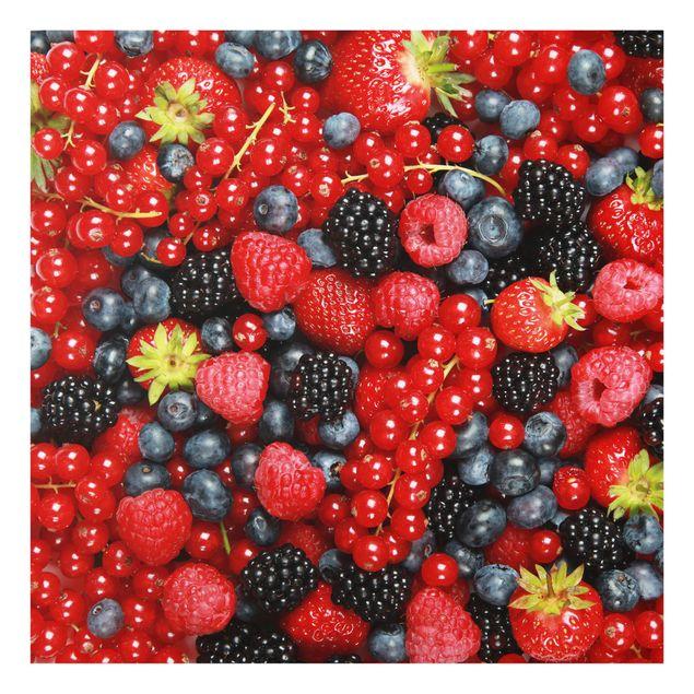 Glas Spritzschutz - Fruchtige Waldbeeren - Quadrat - 1:1