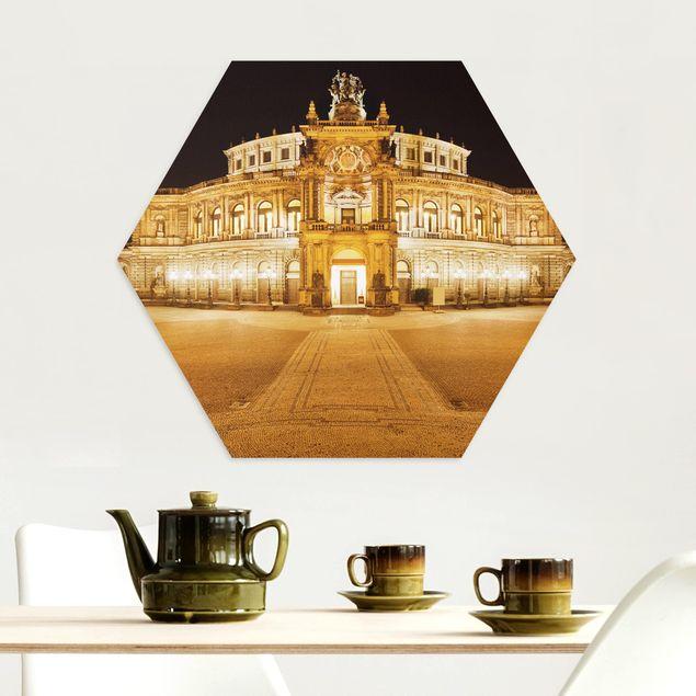 Hexagon Bild Alu-Dibond - Dresdner Opernhaus