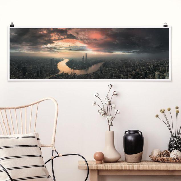 Poster - Shanghai am Morgen - Panorama Querformat