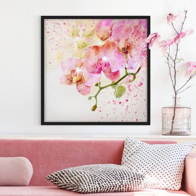 Bild mit Rahmen - Aquarell Blumen Orchideen - Quadrat 1:1