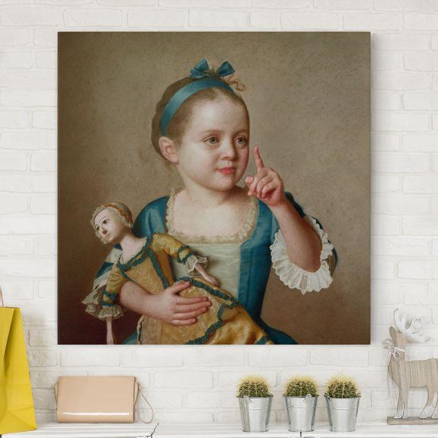 Leinwandbild - Jean Etienne Liotard - Mädchen mit Puppe - Quadrat 1:1