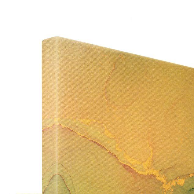 Leinwandbild Gold - Aquarell Pastell Türkis mit Gold - Querformat 3:2