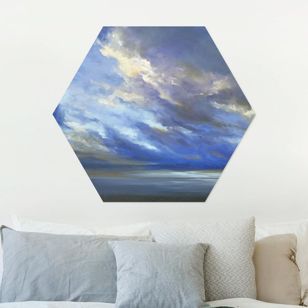 Hexagon Bild Alu-Dibond - Küstenhimmel dunkel