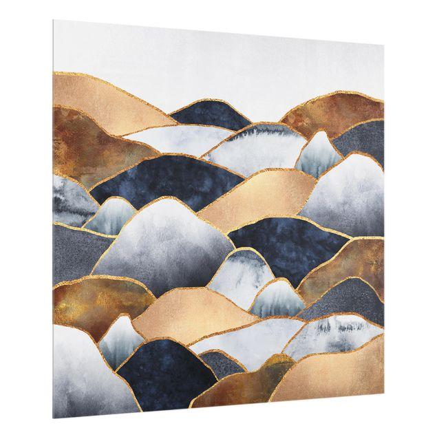 Glas Spritzschutz - Goldene Berge Aquarell - Quadrat - 1:1