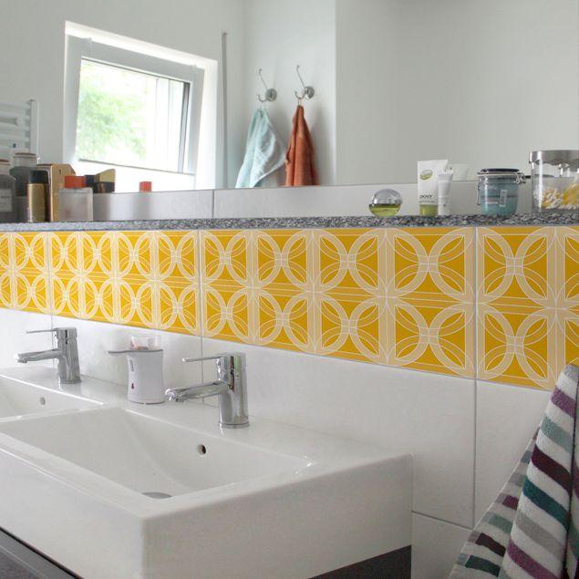 Fliesenaufkleber - Fliesenaufkleber Mosaik - Kreisförmiges Fliesendesign Melon Yellow