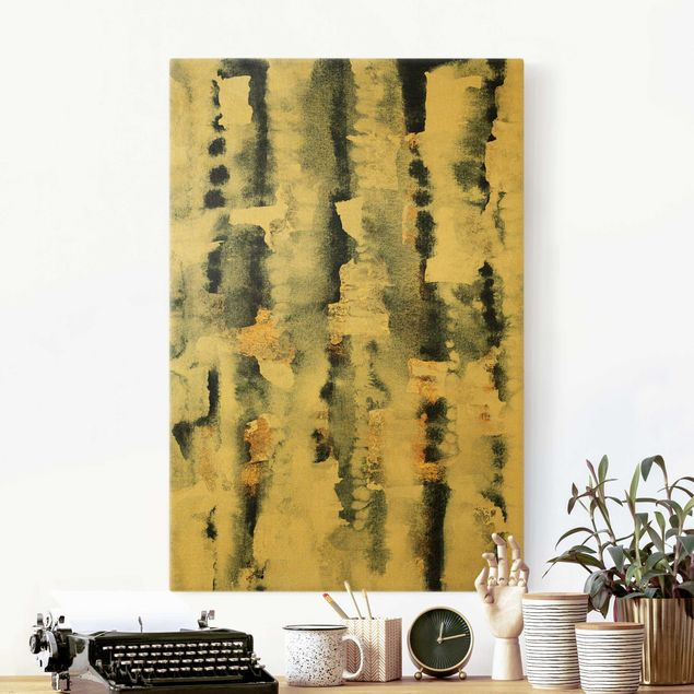Leinwandbild Gold - Abstraktes Aquarell mit Gold - Hochformat 2:3