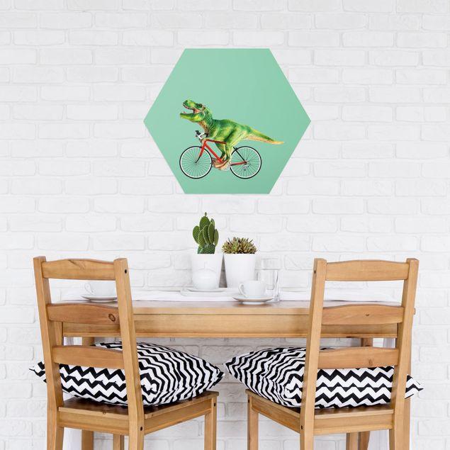 Hexagon Bild Alu-Dibond - Jonas Loose - Dinosaurier mit Fahrrad