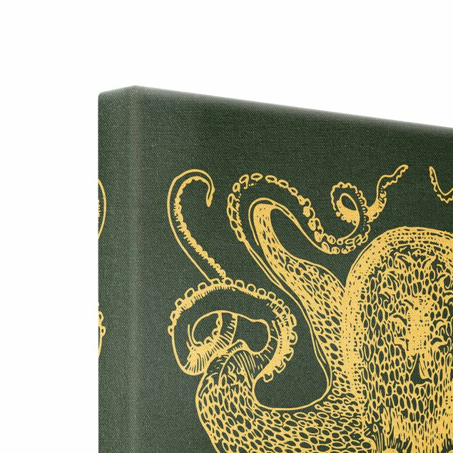 Leinwandbild Gold - Illustration Tintenfisch auf Blau - Quadrat 1:1