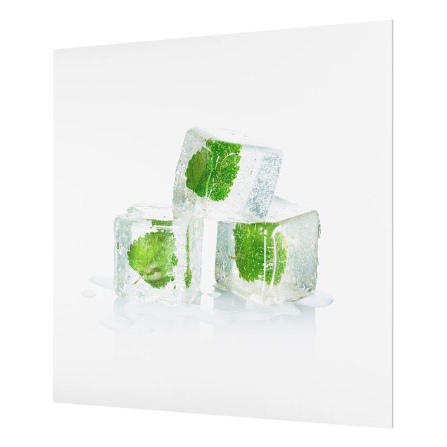 Glas Spritzschutz - Drei Eiswürfel mit Melisse - Quadrat - 1:1