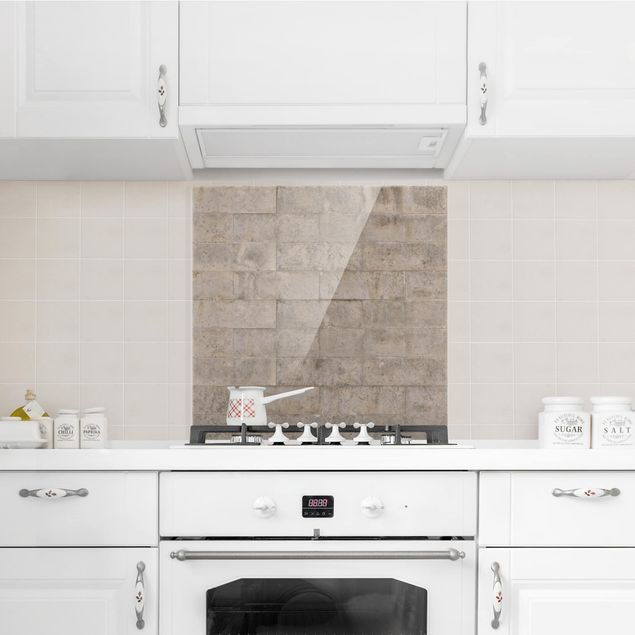 Glas Spritzschutz - Ziegel Betonwand - Quadrat - 1:1