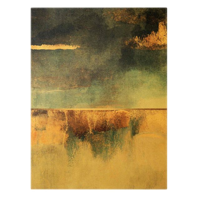 Leinwandbild Gold - Abstraktes Seeufer in Gold - Hochformat 3:4
