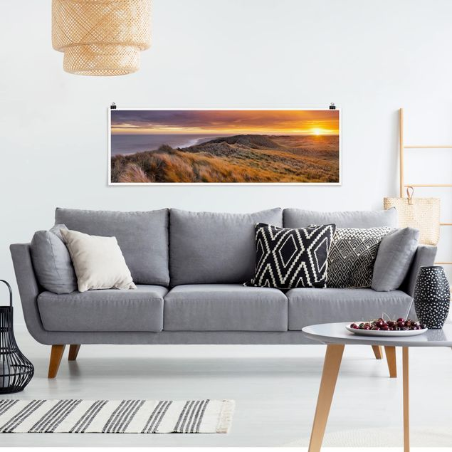 Poster - Sonnenaufgang am Strand auf Sylt - Panorama Querformat