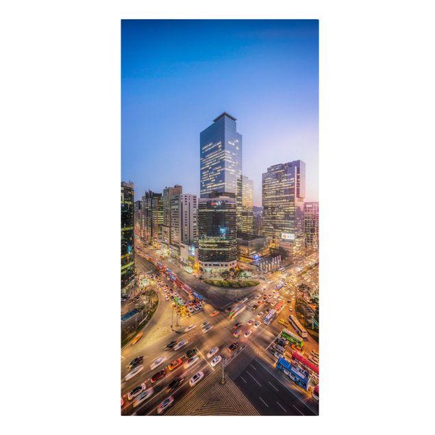 Leinwandbild - Stadtlichter von Gangnam - Hochformat 1:2