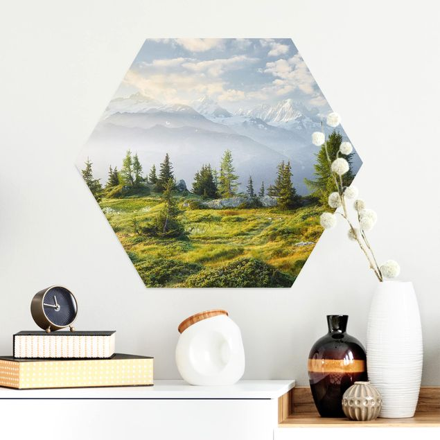 Hexagon Bild Alu-Dibond - Émosson Wallis Schweiz