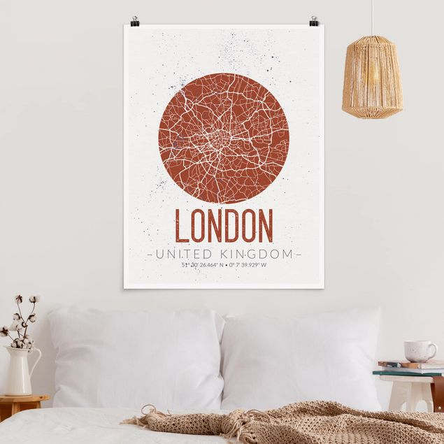 Poster - Stadtplan London - Retro - Hochformat 3:4