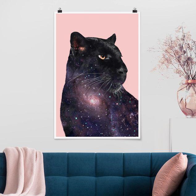 Poster - Jonas Loose - Panther mit Galaxie - Hochformat 3:2