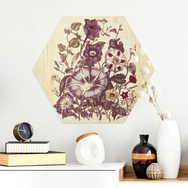 Hexagon Bild Alu-Dibond - Vintage Memory Blumenstrauss