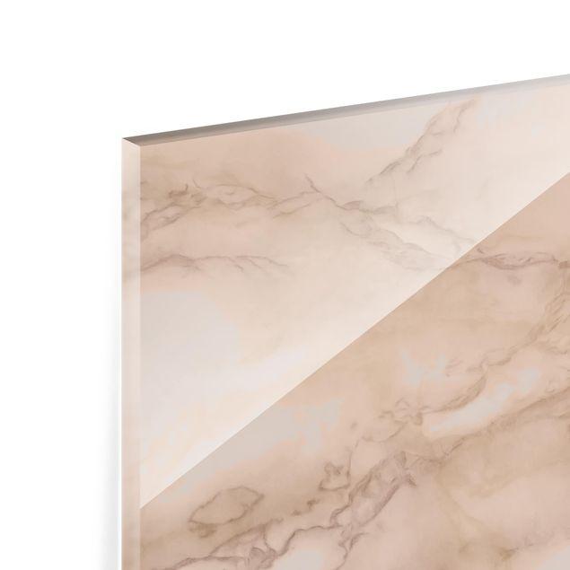Glas Spritzschutz - Marmoroptik Grau Braun - Querformat - 4:3