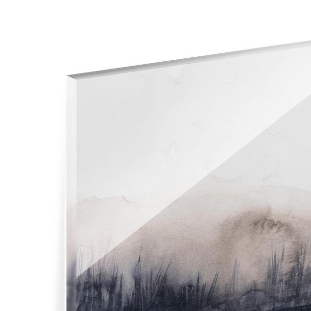 Glas Spritzschutz - Seeufer mit Bergen II - Querformat - 4:3
