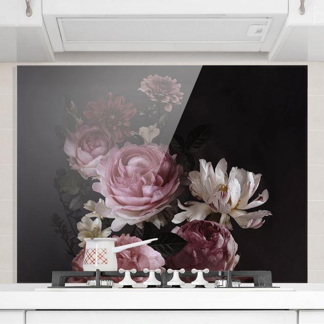 Spritzschutz Glas - Rosa Blumen auf Schwarz - Querformat 3:4