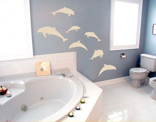 Wandtattoo Fische No.67 Sieben Delfine