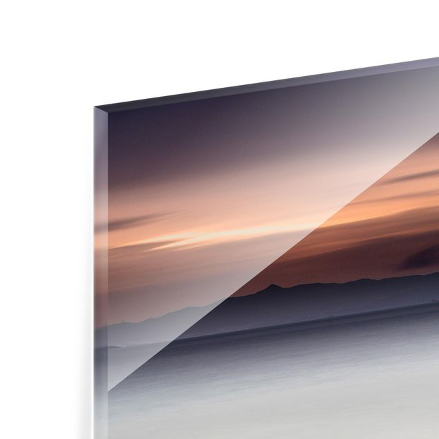 Glas Spritzschutz - Sonnenuntergang im Nebel - Quadrat - 1:1
