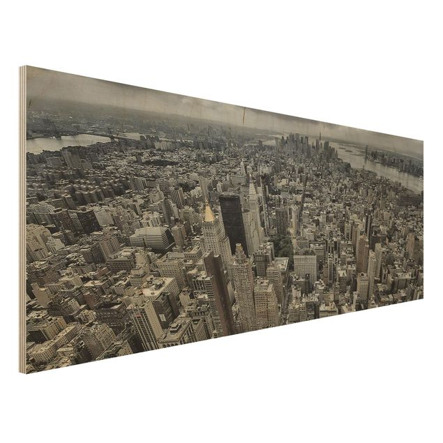 Holzbild - Blick über Manhattan - Panorama