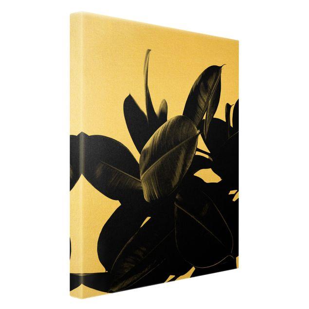 Leinwandbild Gold - Gummibaum Blätter Schwarz Weiß - Hochformat 2:3