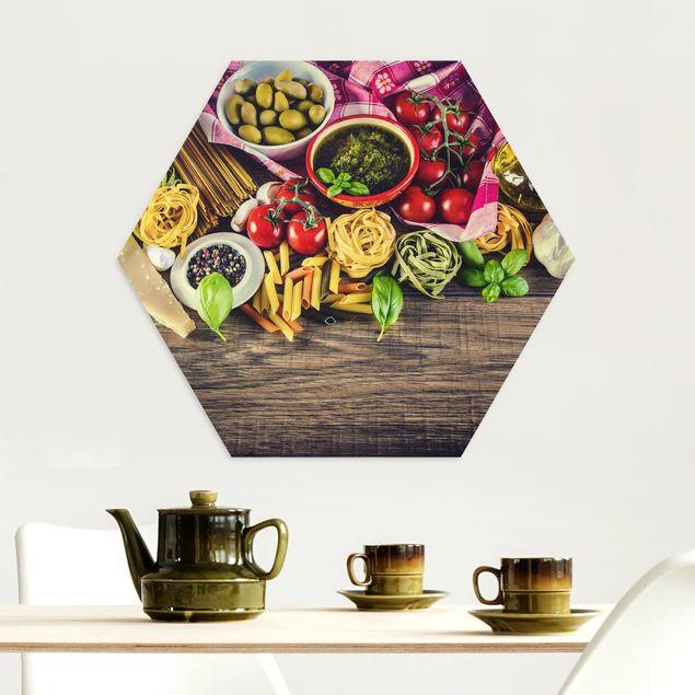 Hexagon Bild Alu-Dibond - Pasta