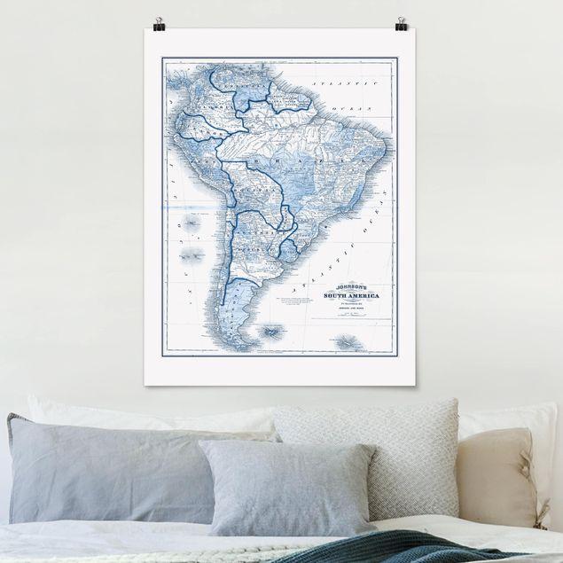 Poster - Karte in Blautönen - Südamerika - Hochformat 3:4