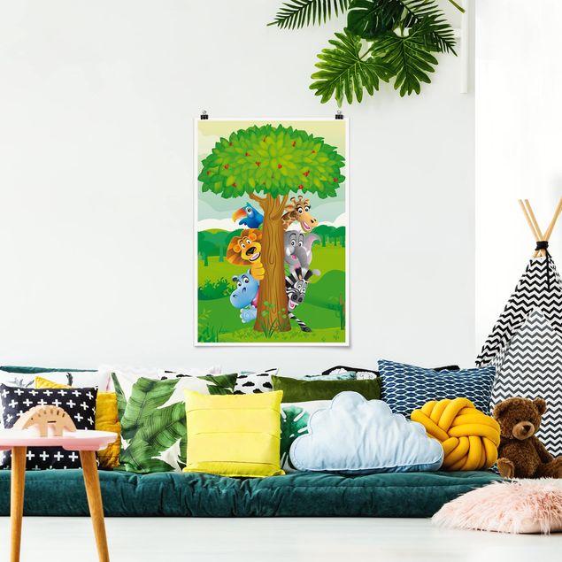 Poster - No.BF1 Dschungeltiere - Hochformat 3:2