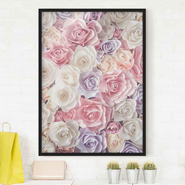 Bild mit Rahmen - Pastell Paper Art Rosen - Hochformat 3:4