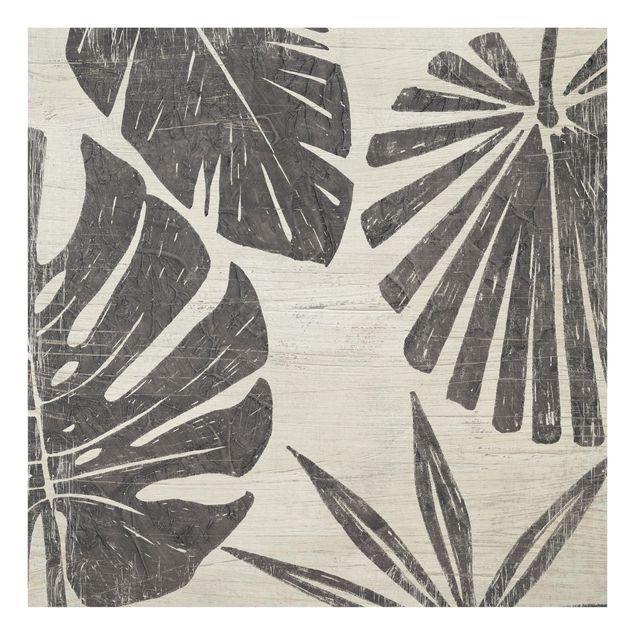 Glas Spritzschutz - Palmenblätter vor Hellgrau - Quadrat - 1:1