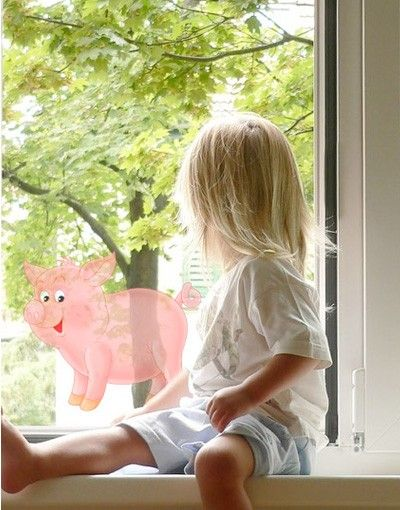 Fensterfolie - Fenstersticker No.53 Schweinchen - Fensterbilder