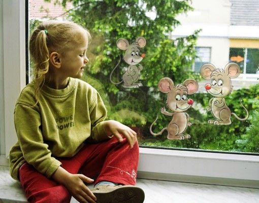 Fensterfolie - Fenstersticker No.73 Mäuse Set - Fensterbilder
