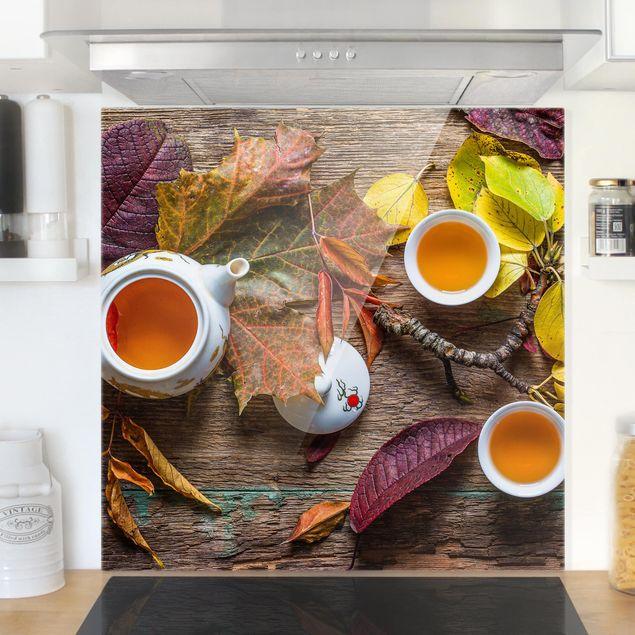 Glas Spritzschutz - Tee im September - Quadrat - 1:1