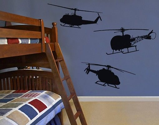 Wandtattoo Kinderzimmer No.SF517 Bell Helicopter Set