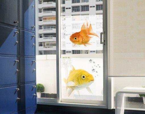 Fensterfolie - Sichtschutz Fenster Colourful Fishes Duo - Fensterbilder