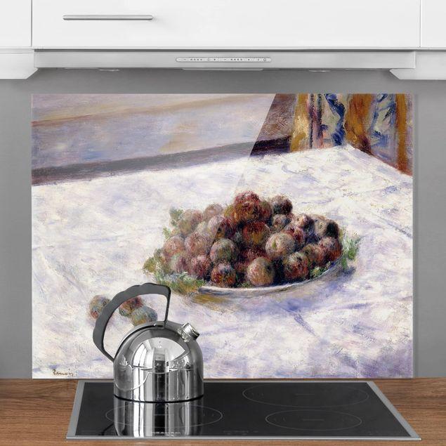 Glas Spritzschutz - Auguste Renoir - Teller mit Pflaumen - Querformat - 4:3
