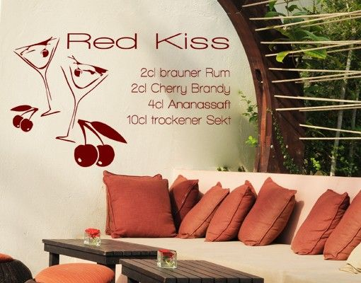 Wandtattoo No.KP140 red kiss