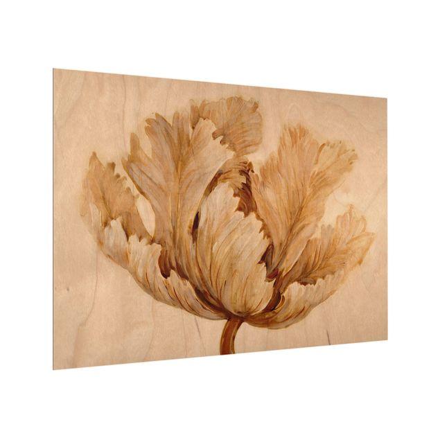Glas Spritzschutz - Sepia Tulpe auf Holz - Querformat - 4:3