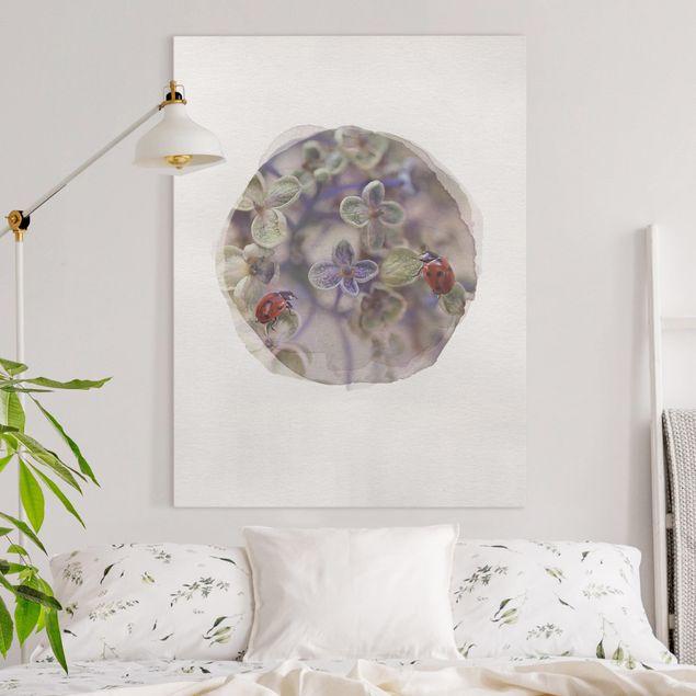 Leinwandbild - Wasserfarben - Marienkäfer im Garten - Hochformat 4:3