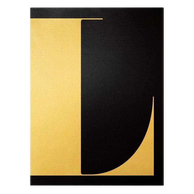 Leinwandbild Gold - Antiqua Letter L Schwarz - Hochformat 3:4