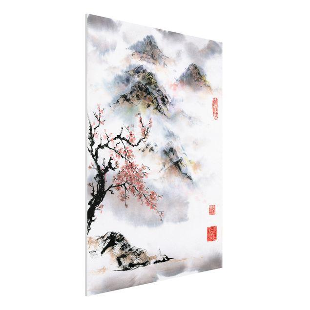 Forex Fine Art Print - Japanische Aquarell Zeichnung Kirschbaum und Berge - Hochformat 4:3