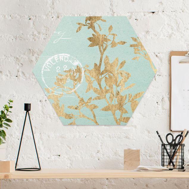 Hexagon Bild Forex - Goldene Blätter auf Turquoise II