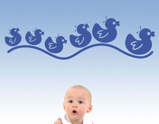 Wandtattoo Babyzimmer Vögel No.UL437 Entchenfamilie