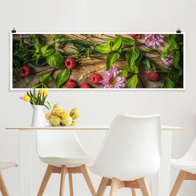 Poster - Blumen Himbeeren Minze - Panorama Querformat